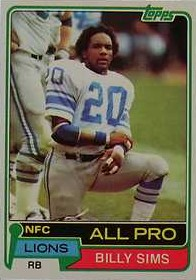 Billy Sims - Detroit Lions - Running Back