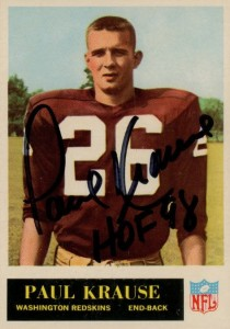 Paul Krause - Washington Redskins - Minnesota Vikings - Hall of Fame - HOF